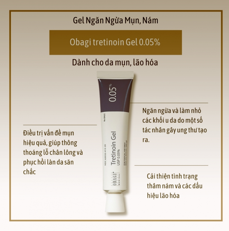Treatment Obagi Tretinoin 0.05% Gel_ Gel trị mụn, nám và chống lão hóa da